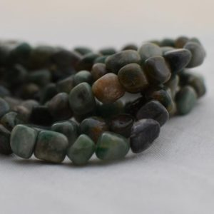 "Shop Jade Chip & Nugget Beads! High Quality Grade A Natural African Jade Semi-precious Gemstone Pebble Tumbled stone Nugget Beads approx 7mm-10mm – 15"" strand 