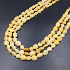 "Shop Jade Chip & Nugget Beads! Yellow Jade Pebble Beads Polished Yellow Jade Nugget Beads 6-10mm Yellow Gemstone Crystal Beads 15.5"" Strand 