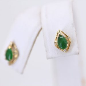 Shop Jade Earrings! Vintage Jade Earrings, Yellow Gold Jade Stud Earrings, Pear Jade Push Back Earrings Earrings | Natural genuine Jade earrings. Buy crystal jewelry, handmade handcrafted artisan jewelry for women.  Unique handmade gift ideas. #jewelry #beadedearrings #beadedjewelry #gift #shopping #handmadejewelry #fashion #style #product #earrings #affiliate #ad