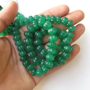 Green Jade Carved Melon Beads, Green Jade Melon Beads, 9mm To 12mm Green Jade Melon Beads, 16 Inch Blue Melon Bead Strand, GDS1412 | Natural genuine other-shape Gemstone beads for beading and jewelry making.  #jewelry #beads #beadedjewelry #diyjewelry #jewelrymaking #beadstore #beading #affiliate #ad