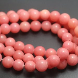 Shop Jade Beads! Peach Jade Beads,6mm/8mm/10mm/12mm Dyed Candy Jade Beads,Smooth and Round  Beads,15 inches one starand | Natural genuine beads Jade beads for beading and jewelry making.  #jewelry #beads #beadedjewelry #diyjewelry #jewelrymaking #beadstore #beading #affiliate #ad