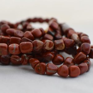 "Shop Jasper Chip & Nugget Beads! High Quality Grade A Natural Brecciated Jasper Semi-precious Gemstone Pebble Tumbled stone Nugget Beads approx 7mm-10mm – 15"" strand 