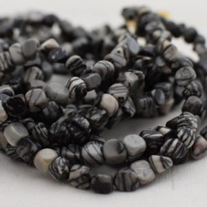 "Shop Jasper Chip & Nugget Beads! High Quality Grade A Natural Black Veined Jasper Semi-Precious Gemstone Tumbled Stone Nugget Pebble Beads – approx 5mm – 8mm – 15.5"" strand 