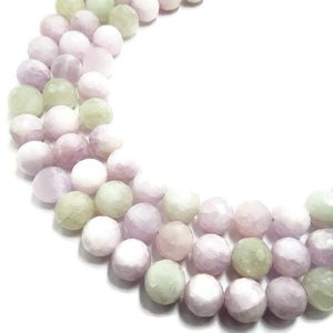 "Shop Kunzite Beads! Multi-Color Kunzite Faceted Round Beads 10mm 13mm 15.5"" Strand 