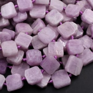 "Shop Kunzite Beads! Natural Violet Purple Pink Kunzite  Square Cushion Beads Octagon Hand Cut Slice Gemstone 16"" Strand 