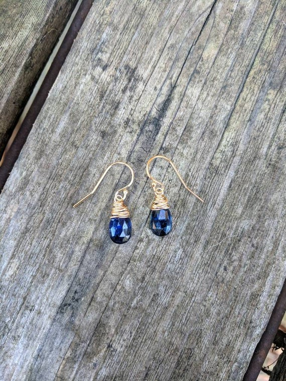 Kyanite Earrings. Sterling Silver Gold Filled Or Rose Gold Available.  Dainty Kyanite Earrings