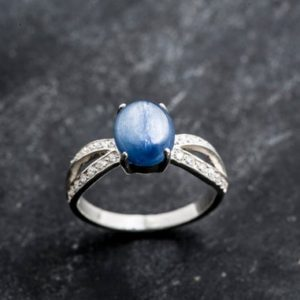 Shop Kyanite Rings! Blue Kyanite Ring, Kyanite Ring, Natural Blue Kyanite, African Kyanite, Promise Ring, Vintage Rings, Solid Silver Ring, Blue Ring, Kyanite | Natural genuine Kyanite rings, simple unique handcrafted gemstone rings. #rings #jewelry #shopping #gift #handmade #fashion #style #affiliate #ad