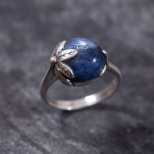 Shop Kyanite Jewelry! Leaf Ring, Kyanite Ring, Natural Kyanite, Flower Ring, Blue Flower Ring, Blue Ring, Healing Stone, Sterling Silver Ring, Kyanite | Natural genuine Kyanite jewelry. Buy crystal jewelry, handmade handcrafted artisan jewelry for women.  Unique handmade gift ideas. #jewelry #beadedjewelry #beadedjewelry #gift #shopping #handmadejewelry #fashion #style #product #jewelry #affiliate #ad