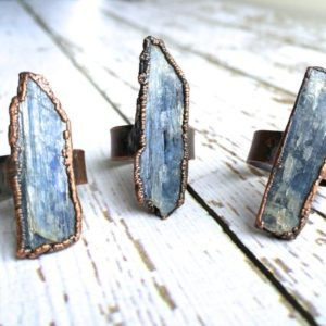 Shop Kyanite Jewelry! Raw Kyanite ring | Blue Kyanite crystal ring | Kyanite healing crystal ring | Raw stone ring | Raw gemstone ring | Kyanite mineral ring | Natural genuine Kyanite jewelry. Buy crystal jewelry, handmade handcrafted artisan jewelry for women.  Unique handmade gift ideas. #jewelry #beadedjewelry #beadedjewelry #gift #shopping #handmadejewelry #fashion #style #product #jewelry #affiliate #ad
