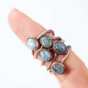 Shop Kyanite Jewelry! Tumbled Kyanite ring | Blue Kyanite ring | Electroformed Kyanite ring | Kyanite mineral ring | Kyanite healing crystal jewelry | Natural genuine Kyanite jewelry. Buy crystal jewelry, handmade handcrafted artisan jewelry for women.  Unique handmade gift ideas. #jewelry #beadedjewelry #beadedjewelry #gift #shopping #handmadejewelry #fashion #style #product #jewelry #affiliate #ad