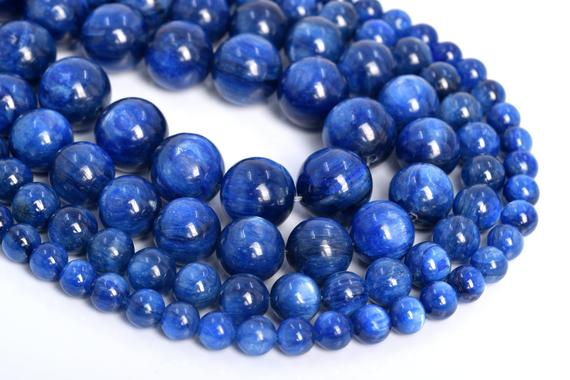 Genuine Natural Kyanite Loose Beads South Africa Grade Aaa Round Shape 6mm 7mm 8mm 9mm 10mm 11mm 12mm