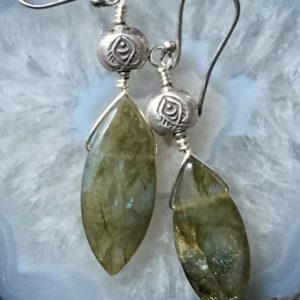 Shop Labradorite Earrings! Labradorite Earrings, Hill Tribe Silver Earrings, Labradorite Silver Earrings, Tribal Silver Fish Earrings, Tribal earrings, Long Earrings   Natural genuine Labradorite earrings. Buy crystal jewelry, handmade handcrafted artisan jewelry for women.  Unique handmade gift ideas. #jewelry #beadedearrings #beadedjewelry #gift #shopping #handmadejewelry #fashion #style #product #earrings #affiliate #ad