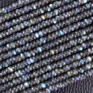 Shop Labradorite Faceted Beads! Best Quality 1 Strand Natural Labradorite Rondelle Faceted Beads,4.5-5.5 MM, Blue Flesh,Making Jewelry,Labradorite  Gemstone,Wholesale Price | Natural genuine faceted Labradorite beads for beading and jewelry making.  #jewelry #beads #beadedjewelry #diyjewelry #jewelrymaking #beadstore #beading #affiliate #ad