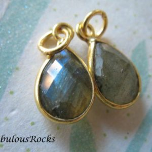 1-10 pcs, LABRADORITE Pendants Charms, 14×8.25 mm, Sterling Silver or 24k Gold Plated Bezel Gemstone Tear Drop Teardrop, GCP4 gp gdc solo | Natural genuine other-shape Labradorite beads for beading and jewelry making.  #jewelry #beads #beadedjewelry #diyjewelry #jewelrymaking #beadstore #beading #affiliate #ad