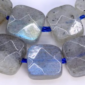 "Shop Labradorite Bead Shapes! 6x6MM Light Gray Labradorite Beads Faceted Flat Square AAA Genuine Natural Gemstone Half Strand Bead 7.5"" BULK LOT 1,3,5,10,50 (103549h-925) 