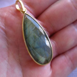 Shop Labradorite Bead Shapes! Gemstone Charm Gem Stone Charm Pendant / Bezel Set Labradorite, 24k Gold over Sterling Silver, 41×16 mm / Gray Long Teardrop Tear Drop gcp5 | Natural genuine other-shape Labradorite beads for beading and jewelry making.  #jewelry #beads #beadedjewelry #diyjewelry #jewelrymaking #beadstore #beading #affiliate #ad