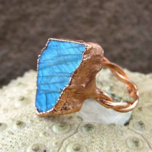 Shop Labradorite Rings! Labradorite ring, statement ring, copper electroformed ring | Natural genuine Labradorite rings, simple unique handcrafted gemstone rings. #rings #jewelry #shopping #gift #handmade #fashion #style #affiliate #ad
