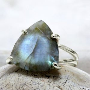 Shop Labradorite Rings! Silver Labradorite Ring, trillion Gemstone Ring, 925 Silver Ring, gem Stone Rings, triangle Ring, custom Engravable Ring | Natural genuine Labradorite rings, simple unique handcrafted gemstone rings. #rings #jewelry #shopping #gift #handmade #fashion #style #affiliate #ad