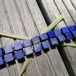Lapis Lazuli cube beads 8.5-10.5mm (ETB00788) Matte beads/Unique jewelry/Vintage jewelry/Gemstone necklace | Natural genuine other-shape Gemstone beads for beading and jewelry making.  #jewelry #beads #beadedjewelry #diyjewelry #jewelrymaking #beadstore #beading #affiliate #ad