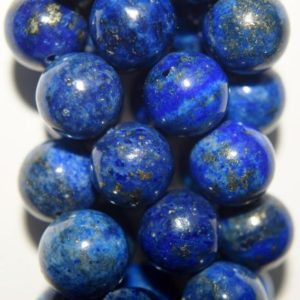 "Shop Lapis Lazuli Round Beads! Lapis Lazuli Beads – Round 10 mm Gemstone Beads – Full Strand 16"", 37 beads, A Quality 