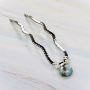 Shop Gemstone Hair Clips & Pins! Larimar and Moonstone Gemstone Hair Pin, Silver Hair Pin, bridal hair pin, bridal party gift, unique gift for her   Natural genuine Gemstone jewelry. Buy handcrafted artisan wedding jewelry.  Unique handmade bridal jewelry gift ideas. #jewelry #beadedjewelry #gift #crystaljewelry #shopping #handmadejewelry #wedding #bridal #jewelry #affiliate #ad