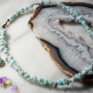 Shop Larimar Necklaces! SERENITY Dominican Republic Larimar Chip Nugget Necklace Choker Lotus Charm Adjustable Chain | Natural genuine Larimar necklaces. Buy crystal jewelry, handmade handcrafted artisan jewelry for women.  Unique handmade gift ideas. #jewelry #beadednecklaces #beadedjewelry #gift #shopping #handmadejewelry #fashion #style #product #necklaces #affiliate #ad