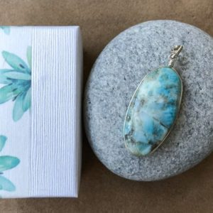 Larimar pendant, Natural Larimar silver pendant, sterling silver pendant, Oval Larimar, silver chain, Blue sky gem pendant, Larimar jewelry | Natural genuine Larimar pendants. Buy crystal jewelry, handmade handcrafted artisan jewelry for women.  Unique handmade gift ideas. #jewelry #beadedpendants #beadedjewelry #gift #shopping #handmadejewelry #fashion #style #product #pendants #affiliate #ad