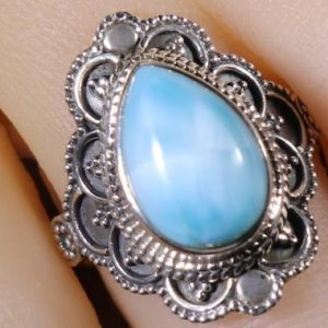 Shop Larimar Rings! Larimar 925 Silver Healing Stone Ring, Size 7 with Positive Healing Energy! | Natural genuine Larimar rings, simple unique handcrafted gemstone rings. #rings #jewelry #shopping #gift #handmade #fashion #style #affiliate #ad