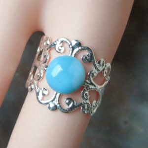 Shop Larimar Rings! Adjustable Larimar Healing Stone Ring, Size 6 -10! | Natural genuine Larimar rings, simple unique handcrafted gemstone rings. #rings #jewelry #shopping #gift #handmade #fashion #style #affiliate #ad