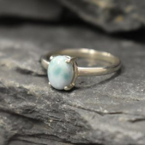 Shop Larimar Rings! Larimar Ring, Natural Larimar, Blue Solitaire Ring, Dainty Ring, Promise Ring, Sky Blue Ring, Oval Ring, Simple Ring, Solid Silver Ring | Natural genuine Larimar rings, simple unique handcrafted gemstone rings. #rings #jewelry #shopping #gift #handmade #fashion #style #affiliate #ad