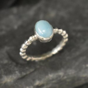 Shop Larimar Rings! Larimar Ring, Natural Larimar, March Birthstone, Solitaire Ring, Blue Dainty Ring, Blue Vintage Ring, Jewel Of Atlantis, Solid Silver Ring | Natural genuine Larimar rings, simple unique handcrafted gemstone rings. #rings #jewelry #shopping #gift #handmade #fashion #style #affiliate #ad