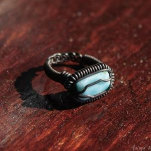 Shop Larimar Rings! Larimar Ring Size 7us, Wire Wrapped Larimar Ring, Heady Ring, Blue Stone Ring, Raw Crystal Ring, Copper Wire Ring, Braided Wire Ring | Natural genuine Larimar rings, simple unique handcrafted gemstone rings. #rings #jewelry #shopping #gift #handmade #fashion #style #affiliate #ad