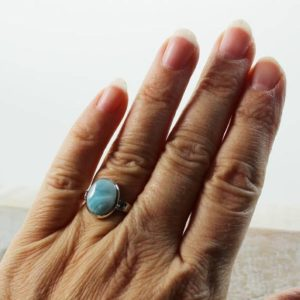 Shop Larimar Rings! Small Larimar ring small oval shape beautiful stone Larimar Caribbean sea color ring Larimar jewelry sterling silver 925 solid bezel | Natural genuine Larimar rings, simple unique handcrafted gemstone rings. #rings #jewelry #shopping #gift #handmade #fashion #style #affiliate #ad