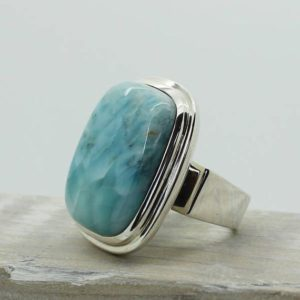 Shop Larimar Rings! Stunning Larimar stone ring blue natural rectangle stone Larimar Caribbean sea color ring Larimar jewelry sterling silver 925 solid bezel | Natural genuine Larimar rings, simple unique handcrafted gemstone rings. #rings #jewelry #shopping #gift #handmade #fashion #style #affiliate #ad