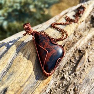 Ecofriendly Natural Hemp Fair Trade Sustainably Sourced Silver Mahongany Obsidian Raw Dulled Spear Necklace Sustainable