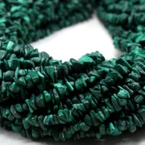 "Aaa Quality 16"" Long Natural Malachite Gemstone, size 5-7 Mm Center Drilled Polished Smooth Malachite Uncut Chips Making Jewelry Wholesale 