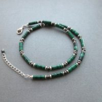 Mens Beaded Necklace Malachite. Men Gemstone Necklace Green Stone Choker Men Green Necklace Men Handmade Jewelry Idea Gift For Men For Guys | Natural genuine Gemstone jewelry. Buy handcrafted artisan men's jewelry, gifts for men.  Unique handmade mens fashion accessories. #jewelry #beadedjewelry #beadedjewelry #shopping #gift #handmadejewelry #jewelry #affiliate #ad