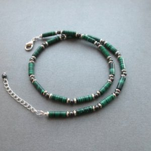 Shop Malachite Necklaces! Mens Beaded Necklace Malachite. Men Gemstone Necklace Green Stone Choker Men Green Necklace Men Handmade Jewelry Idea Gift For Men For Guys | Natural genuine Malachite necklaces. Buy handcrafted artisan men's jewelry, gifts for men.  Unique handmade mens fashion accessories. #jewelry #beadednecklaces #beadedjewelry #shopping #gift #handmadejewelry #necklaces #affiliate #ad