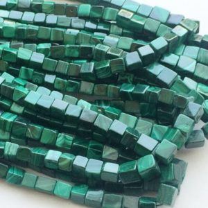 5-8mm Malachite Cube Beads, Malachite Plain Box Beads, Natural Malachite Beads, Malachite Cubes For Necklace (8IN To 16IN Options) | Natural genuine other-shape Gemstone beads for beading and jewelry making.  #jewelry #beads #beadedjewelry #diyjewelry #jewelrymaking #beadstore #beading #affiliate #ad