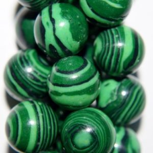 "Shop Malachite Round Beads! Malachite Beads – Round 12 Mm Gemstone Beads – Full Strand 16"", 33 Beads – Reconstituted 