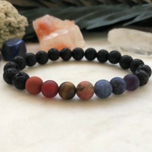 Shop Chakra Bracelets! Mens Bracelet. Chakra Bracelet. Men's Chakra bracelet. 7 Chakras bracelet. Men's Gemstone Bracelet. | Shop jewelry making and beading supplies, tools & findings for DIY jewelry making and crafts. #jewelrymaking #diyjewelry #jewelrycrafts #jewelrysupplies #beading #affiliate #ad