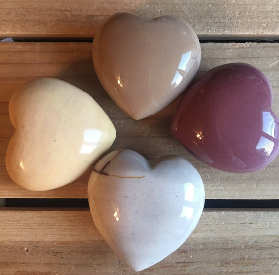 Mookaite Gemstone Puffy Heart, 45mm, Healing Crystals And Stones