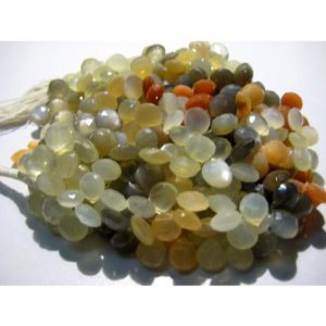 Shop Moonstone Bead Shapes! 9mm Multi Moonstone Faceted Heart Beads, Multi Moonstone Briolettes For Jewelry, Multi Moonstone Hearts (4IN To 8IN Options) | Natural genuine other-shape Moonstone beads for beading and jewelry making.  #jewelry #beads #beadedjewelry #diyjewelry #jewelrymaking #beadstore #beading #affiliate #ad