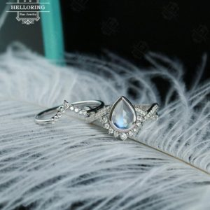 Moonstone engagement ring set white gold engagement ring, Diamond/Moissanite Wedding band, Vintage Pear shaped Twisted Bridal Jewelry | Natural genuine Array jewelry. Buy handcrafted artisan wedding jewelry.  Unique handmade bridal jewelry gift ideas. #jewelry #beadedjewelry #gift #crystaljewelry #shopping #handmadejewelry #wedding #bridal #jewelry #affiliate #ad