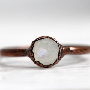 Shop Moonstone Rings! Moonstone Ring –  June Birthstone – Rainbow Moonstone Jewelry – Faceted Moonstone Ring | Natural genuine Moonstone rings, simple unique handcrafted gemstone rings. #rings #jewelry #shopping #gift #handmade #fashion #style #affiliate #ad
