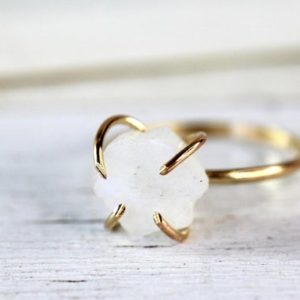 Shop Moonstone Rings! Raw Moonstone Ring –  Gold Moonstone Ring – June Birthstone Ring  – Rainbow Moonstone Ring – Raw Crystal Ring | Natural genuine Moonstone rings, simple unique handcrafted gemstone rings. #rings #jewelry #shopping #gift #handmade #fashion #style #affiliate #ad