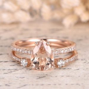 6x8mm Pear Cut Pink Morganite Ring Set 14K Rose Gold Morganite Engagement Ring Pave Diamond Wedding Ring Opening 6mm Wedding Band Bridal | Natural genuine Array rings, simple unique alternative gemstone engagement rings. #rings #jewelry #bridal #wedding #jewelryaccessories #engagementrings #weddingideas #affiliate #ad