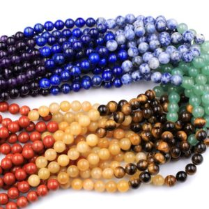 "Shop Chakra Beads! Natural Chakra Beads 4mm 6mm 8mm Round Gemstone Amethyst Lapis Sodalite Aventurine Tigers Eye Yellow Jade Red Jasper 15.5"" Strand 