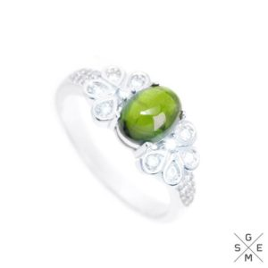 Shop Green Tourmaline Rings! Natural Green Tourmaline Cabochon & white CZ 925 Sterling Silver Ring 8. | Natural genuine Green Tourmaline rings, simple unique handcrafted gemstone rings. #rings #jewelry #shopping #gift #handmade #fashion #style #affiliate #ad