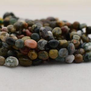 "High Quality Grade A Natural Ocean Jasper Semi-Precious Gemstone Tumbled Stone Nugget Pebble Beads – approx 5mm – 8mm – 15.5"" strand 